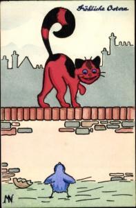 Künstler Ak rote Katze auf der Mauer, blauer Vogel