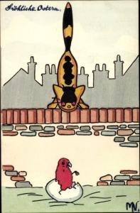 Künstler Ak gelbe Katze auf der Mauer beobachtet geschlüpftes rotes Küken, Frohe Ostern