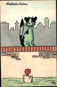 Künstler Ak Katze auf der Mauer beobachtet geschlüpftes Küken, Frohe Ostern