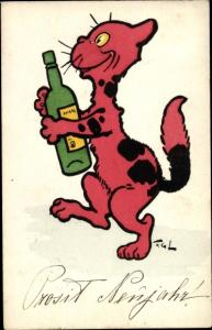 Künstler Ak rote Katze mit Weinflasche, Prosit Neujahr, Nr. 241