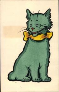 Künstler Ak grüne grinsende Katze mit gelber Schleife, Nr. 417