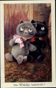 Künstler Ak Kennedy, A., weinende verängstigte Kätzchen im Wald, verirrt, Nr. 773, Faulkner 1241