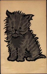 Künstler Ak schwarze sitzende Katze, Nr. 418