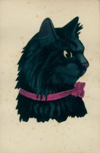 Künstler Ak schwarze Katze mit rosa Schleife