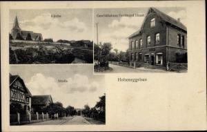 Ak Hoheneggelsen Söhlde in Niedersachsen, Geschäftshaus, Kirche, Straße