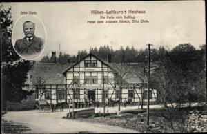 Ak Neuhaus im Solling Holzminden Niedersachsen, Hotel zum braunen Hirsch, Porträt
