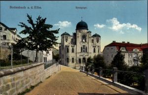Judaika Ak Děčín Tetschen Bodenbach Elbe Region Aussig, Synagoge