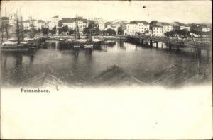 Ak Pernambuco Brasilien, Partie mit Schiffen