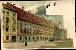 Litho Augsburg in Schwaben, Fuggerhaus und 3 Mohren