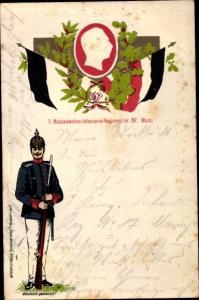 Präge Ak 1. Nassauisches Infanterie Regiment 87 Mainz, Soldat, Kaiser Wilhelm II.