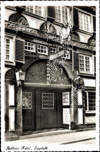Ak Lippstadt im Kreis Soest Nordrhein Westfalen, Eingangsportal, Goldener Hahn