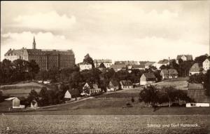 Ak Honeck Stollberg Erzgebirge, Schloss und Dorf