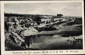 Ak Denisow an der Strypa Galizien Ukraine, Vormarsch der Gef. Bagage des III. L-J-B 102 1916