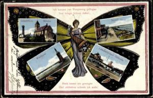 Schmetterling Ak Wangerooge in Friesland, Westturm, Lesehalle, Giftbude, Strand, Leuchtturm, Kirche