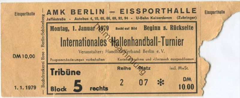 Deutschland - Berlin - Eissporthalle - Internationales Hallenhandball-Turnier 1.1.1979 - Eintrittskarte