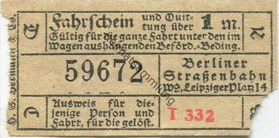 Deutschland - Berlin - Berliner Strassenbahn W. 9 Leipziger Platz 14 - Fahrschein und Quittung 1M. 20er Jahre