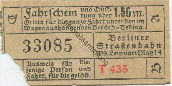 Deutschland - Berlin - Berliner Strassenbahn W. 9 Leipziger Platz 14 - Fahrschein und Quittung 1.50M. 20er Jahre