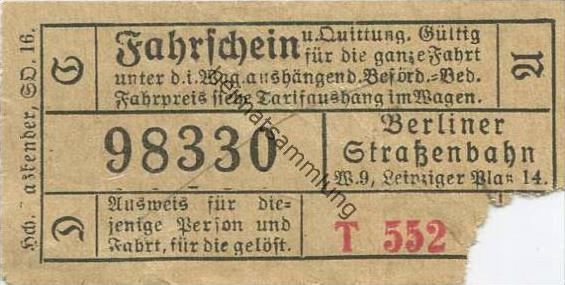 Deutschland - Berlin - Berliner Strassenbahn W. 9 Leipziger Platz 14 - Fahrschein und Quittung 20er Jahre