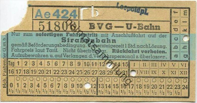 Deutschland - Berlin - BVG U-Bahn mit Anschlussfahrt auf der Strassenbahn - Leopoldplatz - Fahrschein