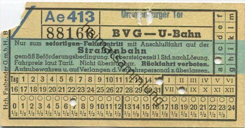 Deutschland - Berlin - BVG U-Bahn mit Anschlussfahrt auf der Strassenbahn - Oranienburger Tor - Fahrschein