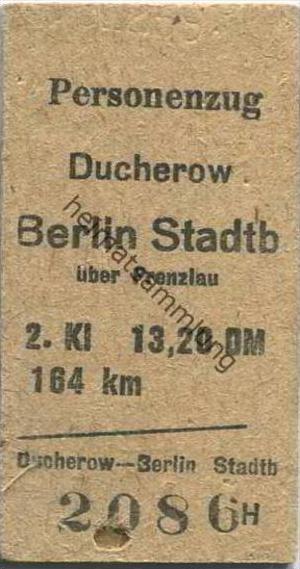 Deutschland - Personenzug - Ducherow - Berlin Stadtbahn über Prenzlau - Fahrkarte 2. Klasse DDR 13,20 DM