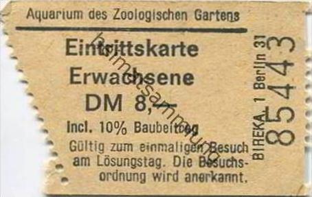 Deutschland - Berlin - Aquarium des Zoologischen Gartens - Eintrittskarte