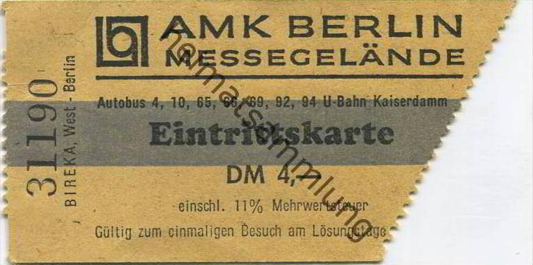 Deutschland - Berlin - AMK Berlin Messegelände - Eintrittskarte