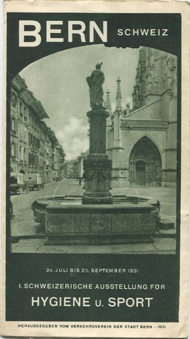Bern 1931 - 1. Schweizerische Ausstellung für Hygiene und Sport in Bern (Hyspa) - Faltblatt mit 12 Abbildungen - Herausg
