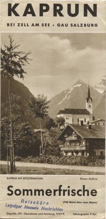 Kaprun 1939 - Faltblatt mit 9 Abbildungen - Verzeichnis der Preise und Gaststätten