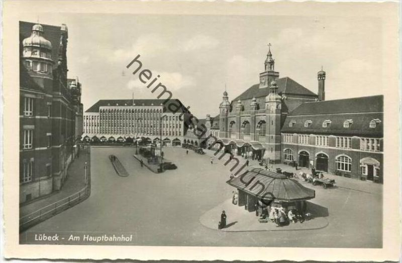 Lübeck - Am Hauptbahnhof - Foto-AK - Verlag Schöning & Co. Lübeck