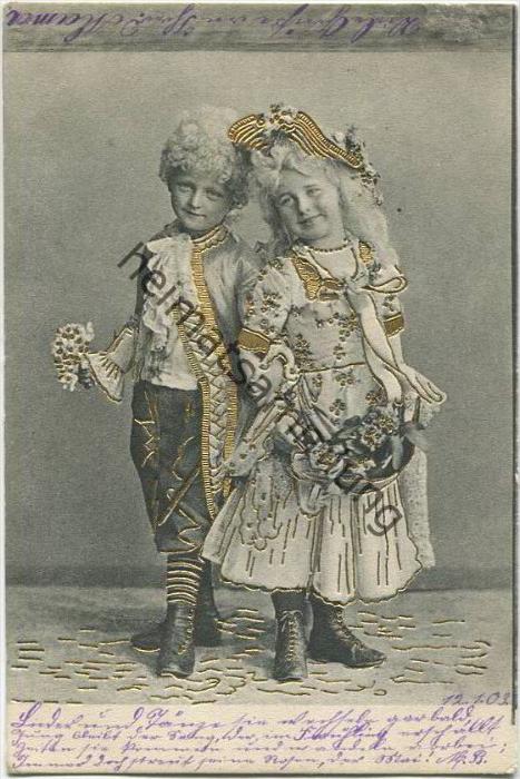 Kinder im Rokoko-Kostüm - Goldtiefdruck