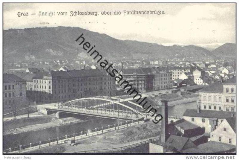 Graz - Ansicht vom Schlossberg über die Ferdinandbrücke