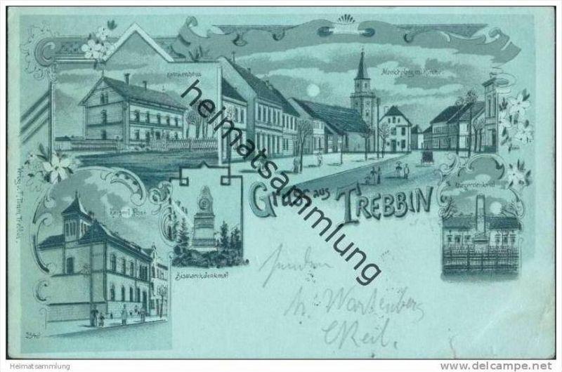 Gruss aus Trebbin - Krankenhaus - Post - Marktplatz - Denkmal