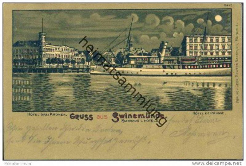 Gruss aus Swinemünde - Passagierschiff Heringsdorf - Hotel drei Kronen - Hotel de Prusse - Mondscheinkarte