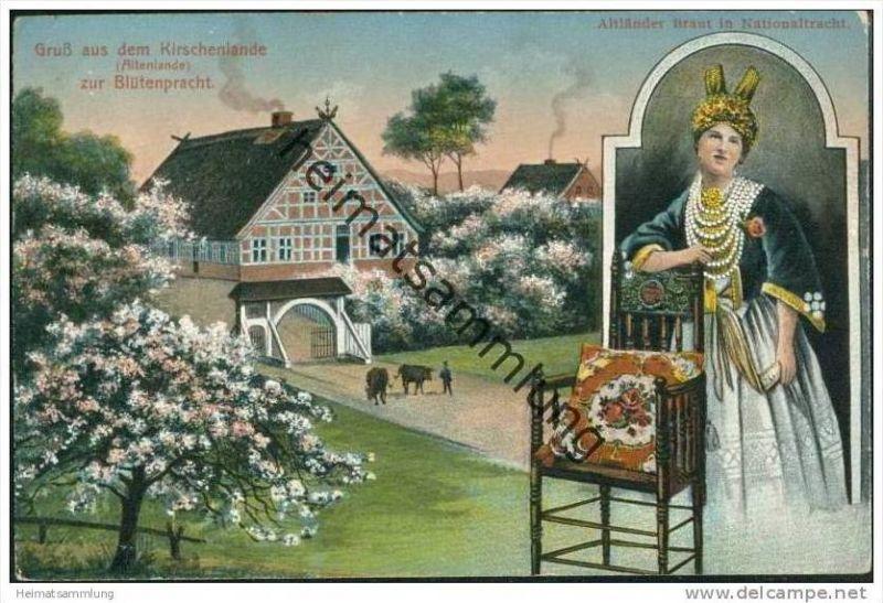 Gruss aus dem Kirschenlande - Altenlande zur Blütenpracht - Altländer Braut in Nationaltracht