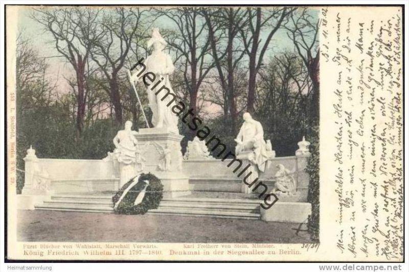 Denkmal in der Siegesallee zu Berlin -König Friedrich Wilhelm III. - Fürst Blücher von Wahlstatt Marschall Vorwärt