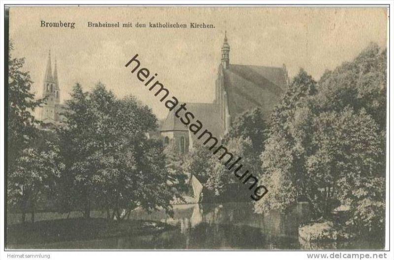 Bromberg - Braheinsel mit den katholischen Kirchen - um 1910