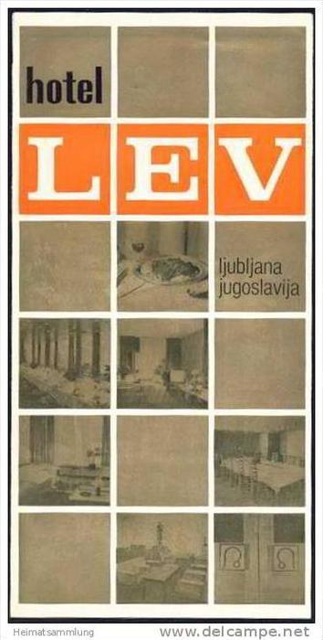 Slowenien - Ljubljana 1977 - Hotel Lev - Faltblatt mit 11 Abbildungen