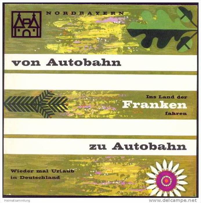 Ins Land der Franken fahren 1968 - Faltblatt mit 8 Abbildungen - Unterkunftsverzeichnis 20 Seiten
