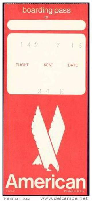 Boarding Pass - AA American Airlines
