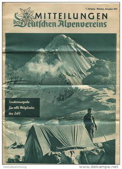Mitteilungen des Deutschen Alpenvereins - Sonderausgabe für alle Mitglieder Dezember 1955 - 16 Seiten DinA4 Format