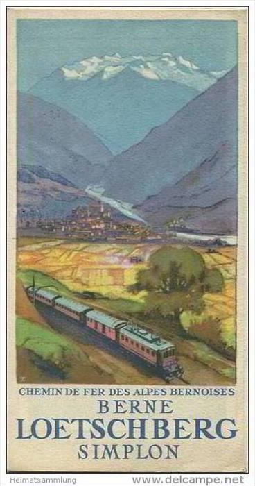 Loetschberg 30er Jahre - Faltblatt mit 5 Abbildungen - grosse Reliefkarte - in französischer Sprache