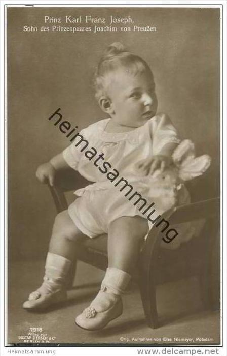 Prinz Karl Franz Joseph - Sohn von Prinz Joachim von Preussen - Orig. Aufnahme von Else Niemeyer Potsdam