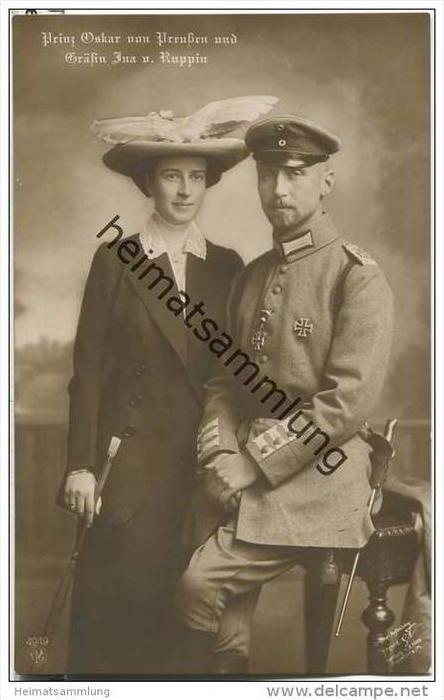 Prinz Oskar von Preußen und Gräfin Ina Maria von Ruppin - Gräfin von Bassewitz - Photograph Voigt Homburg