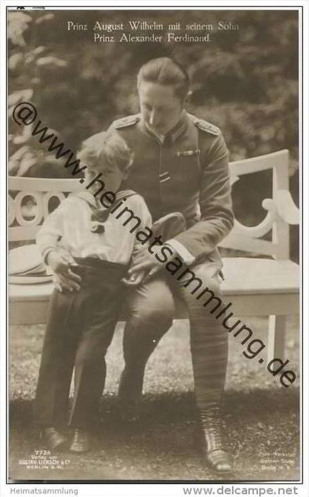Prinz August Wilhelm von Preussen mit seinem Sohn Prinz Alexander Ferdinand - Aufnahme Jüptner-Stuhr Berlin