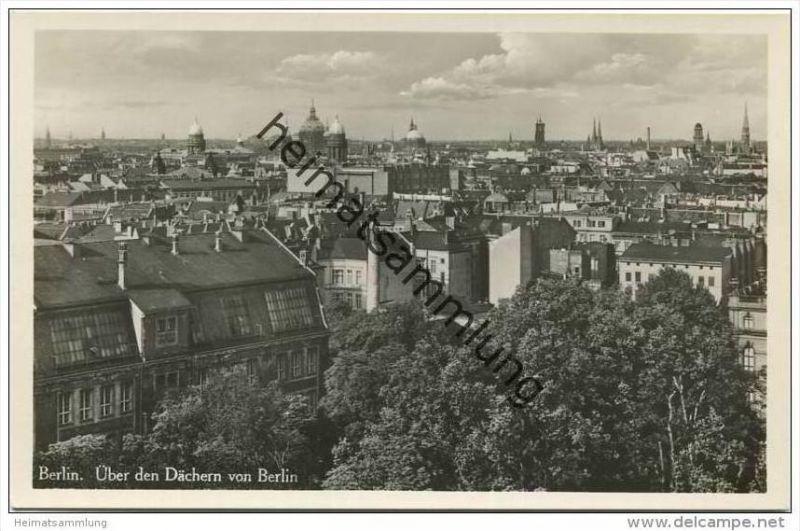 Berlin-Mitte über den Dächern von Berlin - Foto-AK 30er Jahre
