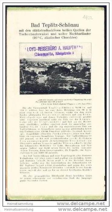 Tschechien - Teplice - Bad Teplitz-Schönau 1932 - Faltblatt mit 7 Abbildungen - beiliegend Claryscher Schlossgartensaal