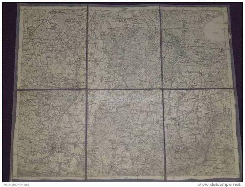 Königreich Preussen - Kreis Minden Stolzenau Hannover Neustadt Springe 1914 30cm x 37cm auf Leinen