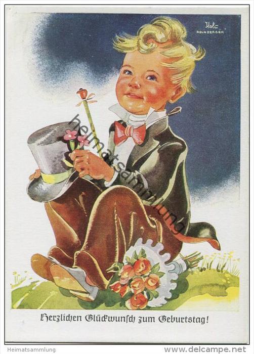 Junge mit FrackZylinder und Blumen - Koli-Karte - AK Grossformat 40er Jahre