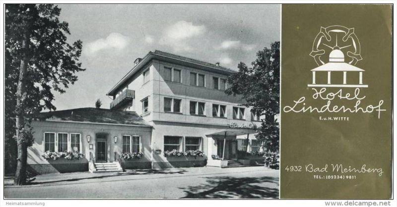 Bad Meinberg - Hotel Lindenhof Besitzer E. u. H. Witte - Faltblatt mit 5 Abbildungen